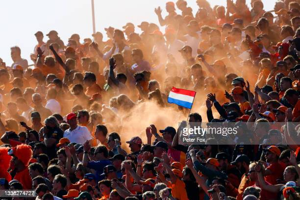 Max Verstappen of Red Bull Racing and The Netherlands fans during qualifying ahead of the F1 Grand Prix of The Netherlands at Circuit Zandvoort on...