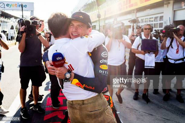 Max Verstappen of Red Bull Racing and The Netherlands with Christian Horner of Great Britain and Red Bull Racing during the Formula One Grand Prix of...