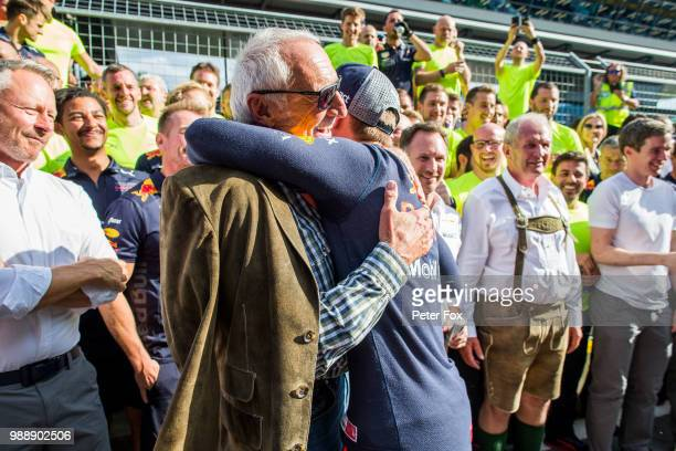 Max Verstappen of Red Bull Racing and The Netherlands with Dietrich Mateschitz of Red Bull Racing and Austria during the Formula One Grand Prix of...