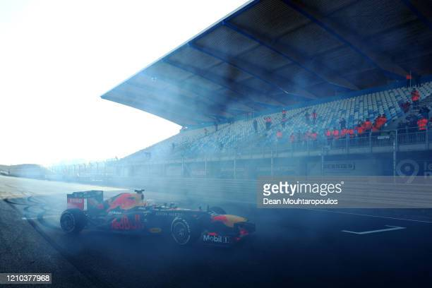 Max Verstappen of Red Bull Racing is pictured as he drives the first laps at the official opening for the upcoming F1 or Formula One race which will...