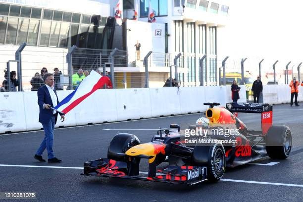 Max Verstappen of Red Bull Racing is pictured as he drives the first laps at the official opening for the upcoming Dutch GP F1 or Formula One race...