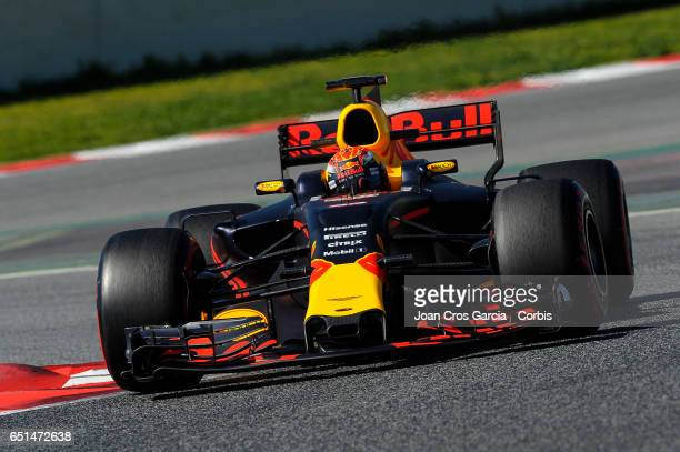 Max Verstappen of Red Bull Racing Team driving his car during the Formula One Winter tests on May 10 2017 in Barcelona Spain