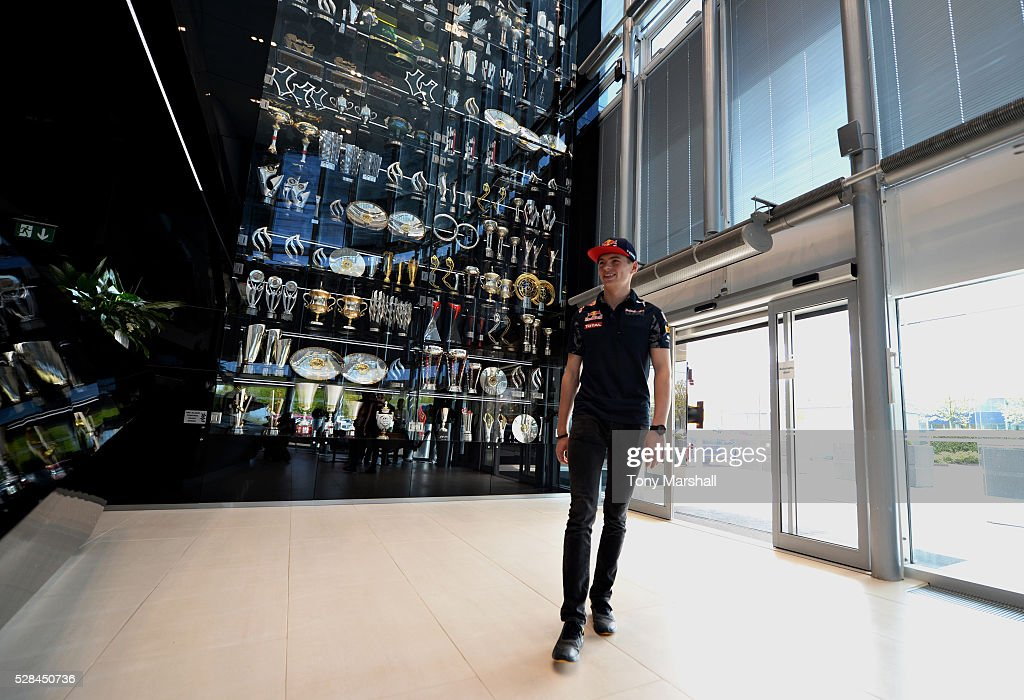 Max Verstappen of the Netherlands and Red Bull Racing arrives at the Red Bull Racing Factory on May 5, 2016 at the Red Bull Racing Factory, Milton Keynes, England.