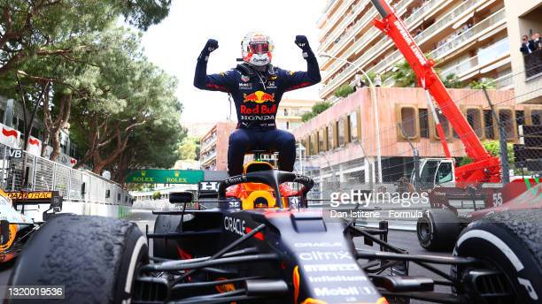 Max Verstappen of the Netherlands and Red Bull Racing celebrates winning the F1 Grand Prix of Monaco in parc ferme at Circuit de Monaco on May 23,...