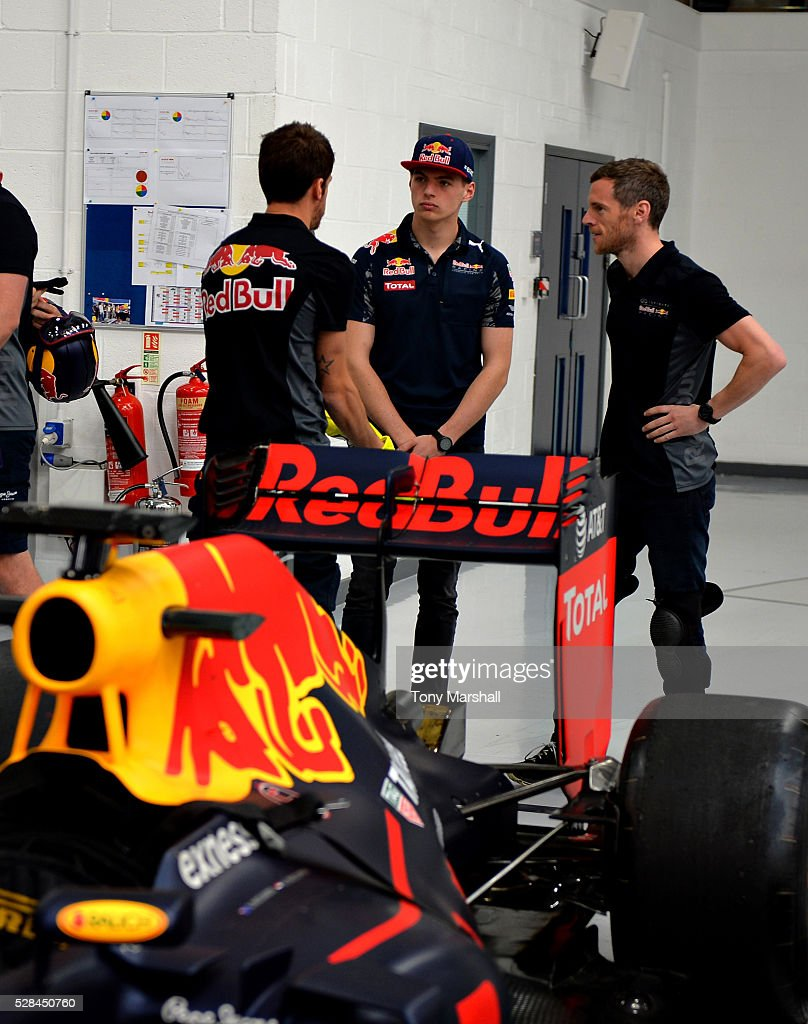 Max Verstappen of the Netherlands and Red Bull Racing meets the team to prepare for the Spanish Grand Prix on May 5, 2016 at the Red Bull Racing Factory, Milton Keynes, England.