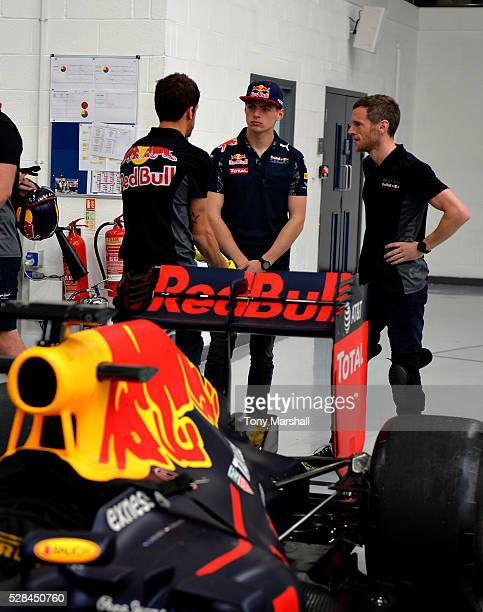 Max Verstappen of the Netherlands and Red Bull Racing meets the team to prepare for the Spanish Grand Prix on May 5 2016 at the Red Bull Racing...