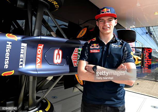 Max Verstappen of the Netherlands and Red Bull Racing next to the Red Bull Racing RB12 on May 5 2016 at the Red Bull Racing Factory Milton Keynes...