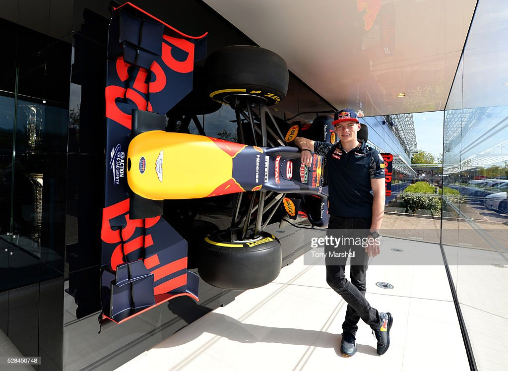 Max Verstappen of the Netherlands and Red Bull Racing next to the Red Bull Racing RB12 on May 5, 2016 at the Red Bull Racing Factory, Milton Keynes, England.