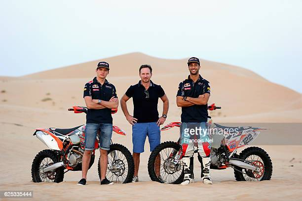 Max Verstappen of the Netherlands and Red Bull Racing Red Bull Racing Team Principal Christian Horner and Daniel Ricciardo of Australia and Red Bull...
