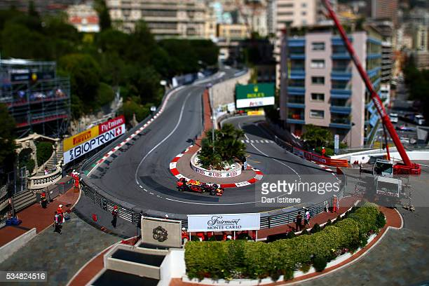 Max Verstappen of the Netherlands drives the 6 Red Bull Racing Red BullTAG Heuer RB12 TAG Heuer during final practice ahead of the Monaco Formula One...