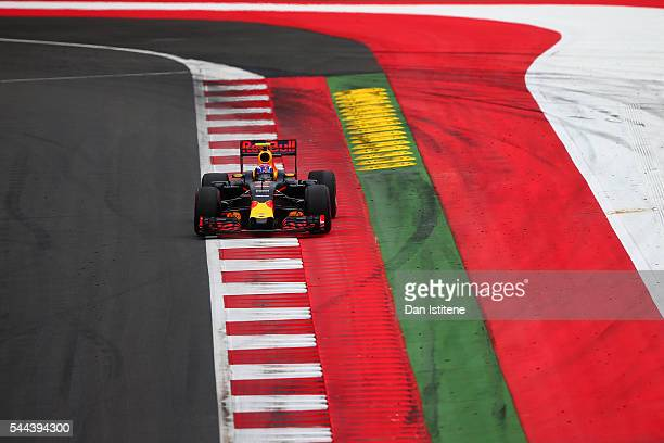 Max Verstappen of the Netherlands drives the 6 Red Bull Racing Red BullTAG Heuer RB12 TAG Heuer during the Formula One Grand Prix of Austria at Red...