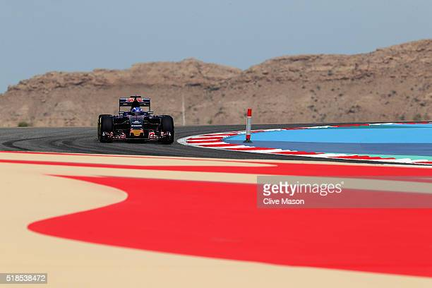 Max Verstappen of the Netherlands drives the Scuderia Toro Rosso STR11 Ferrari 059/5 turbo on track during practice for the Bahrain Formula One Grand...