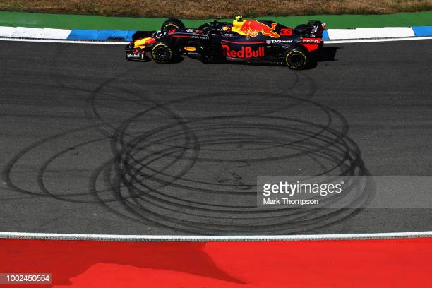 Pierre Wache Chief Engineer of Performance Engineering at Red Bull Racing talks in a press conference during practice for the Formula One Grand Prix...