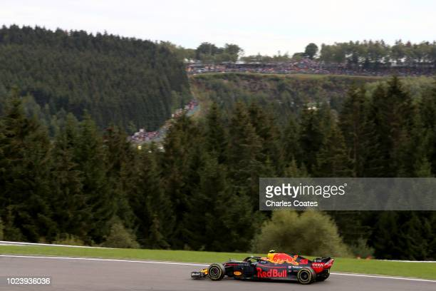 Max Verstappen of the Netherlands driving the Aston Martin Red Bull Racing RB14 TAG Heuer on track during the Formula One Grand Prix of Belgium at...