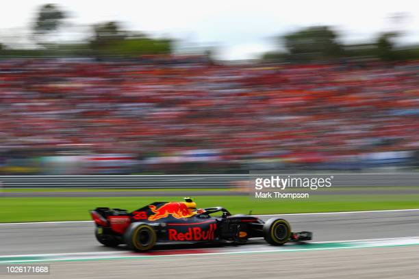 Max Verstappen of the Netherlands driving the Aston Martin Red Bull Racing RB14 TAG Heuer on track during the Formula One Grand Prix of Italy at...