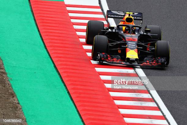 Max Verstappen of the Netherlands driving the Aston Martin Red Bull Racing RB14 TAG Heuer on track during final practice for the Formula One Grand...