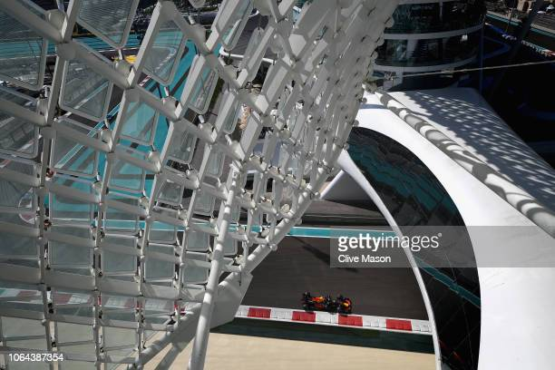 Max Verstappen of the Netherlands driving the Aston Martin Red Bull Racing RB14 TAG Heuer on track during practice for the Abu Dhabi Formula One...