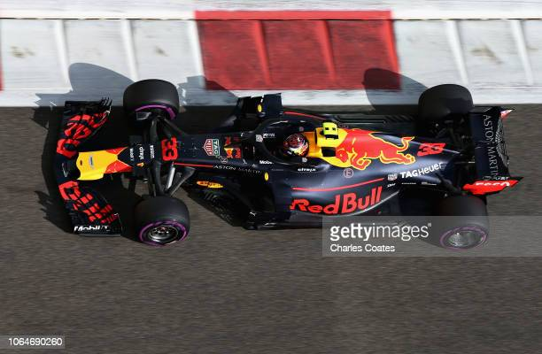 Max Verstappen of the Netherlands driving the Aston Martin Red Bull Racing RB14 TAG Heuer on track during final practice for the Abu Dhabi Formula...