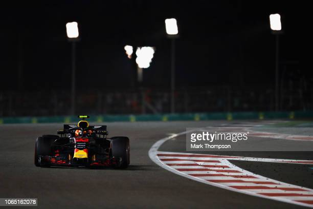 Max Verstappen of the Netherlands driving the Aston Martin Red Bull Racing RB14 TAG Heuer on track during the Abu Dhabi Formula One Grand Prix at Yas...