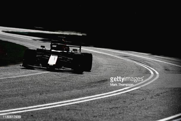 Max Verstappen of the Netherlands driving the Aston Martin Red Bull Racing RB15 on track during practice for the F1 Grand Prix of Australia at...