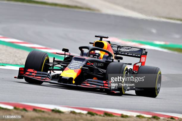 Max Verstappen of the Netherlands driving the Aston Martin Red Bull Racing RB15 on track during day three of F1 Winter Testing at Circuit de...