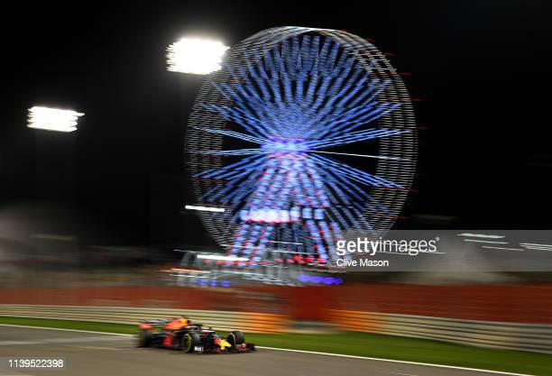 Max Verstappen of the Netherlands driving the Aston Martin Red Bull Racing RB15 on track during the F1 Grand Prix of Bahrain at Bahrain International...