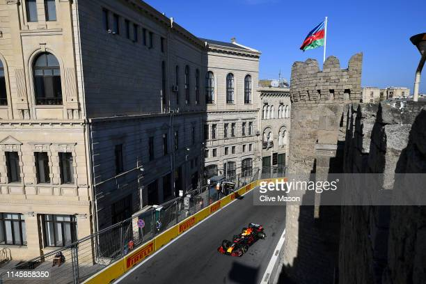 Max Verstappen of the Netherlands driving the Aston Martin Red Bull Racing RB15 on track during the F1 Grand Prix of Azerbaijan at Baku City Circuit...