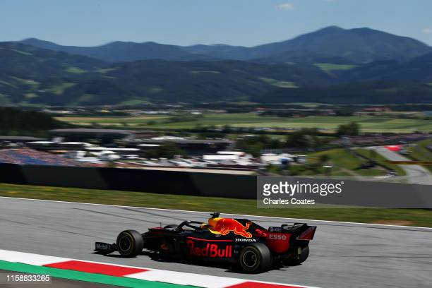 Max Verstappen of the Netherlands driving the Aston Martin Red Bull Racing RB15 on track during practice for the F1 Grand Prix of Austria at Red Bull...