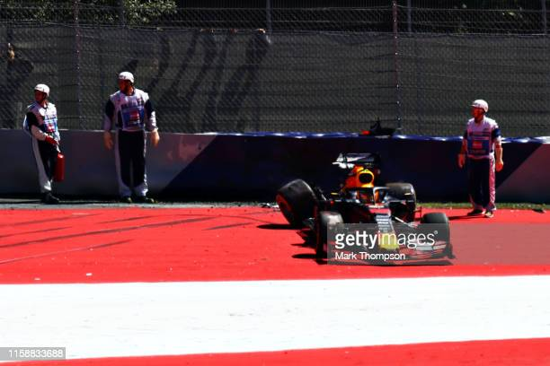 Max Verstappen of the Netherlands driving the Aston Martin Red Bull Racing RB15 crashes during practice for the F1 Grand Prix of Austria at Red Bull...