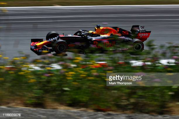Max Verstappen of the Netherlands driving the Aston Martin Red Bull Racing RB15 on track during final practice for the F1 Grand Prix of Austria at...