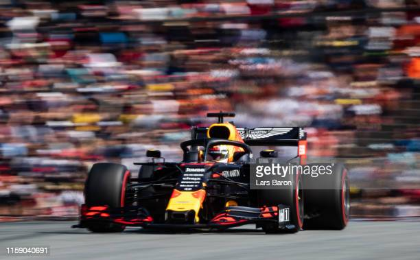 Max Verstappen of the Netherlands driving the Aston Martin Red Bull Racing RB15 on track during qualifying for the F1 Grand Prix of Austria at Red...