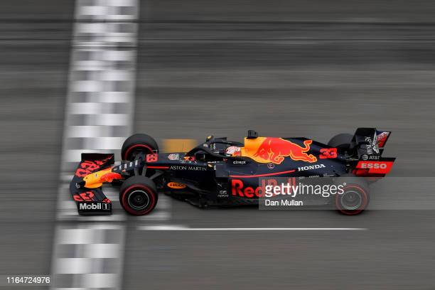 Max Verstappen of the Netherlands driving the Aston Martin Red Bull Racing RB15 on track during the F1 Grand Prix of Germany at Hockenheimring on...