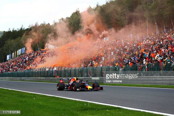 Max Verstappen of the Netherlands driving the Aston Martin Red Bull Racing RB15 on the formation lap before the F1 Grand Prix of Belgium at Circuit...