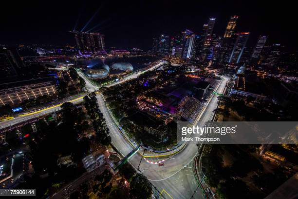 Max Verstappen of the Netherlands driving the Aston Martin Red Bull Racing RB15 on track during practice for the F1 Grand Prix of Singapore at Marina...