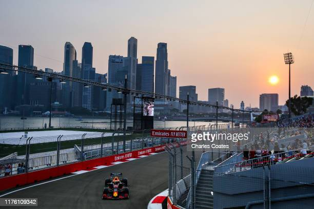 Max Verstappen of the Netherlands driving the Aston Martin Red Bull Racing RB15 on track during final practice for the F1 Grand Prix of Singapore at...