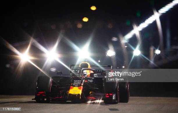 Max Verstappen of the Netherlands driving the Aston Martin Red Bull Racing RB15 on track during qualifying for the F1 Grand Prix of Singapore at...