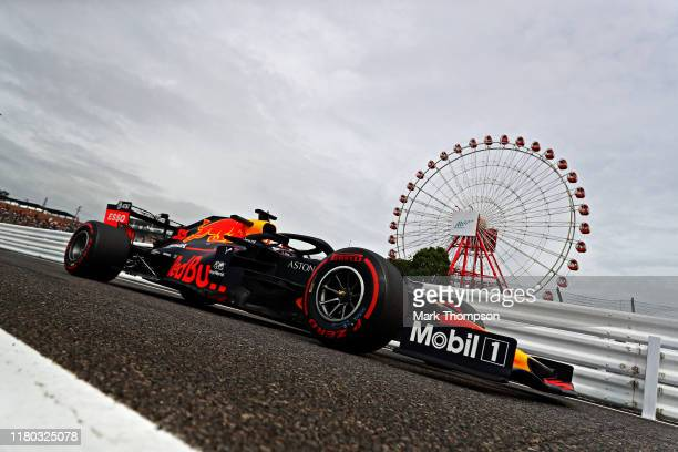 Max Verstappen of the Netherlands driving the Aston Martin Red Bull Racing RB15 on track during practice for the F1 Grand Prix of Japan at Suzuka...