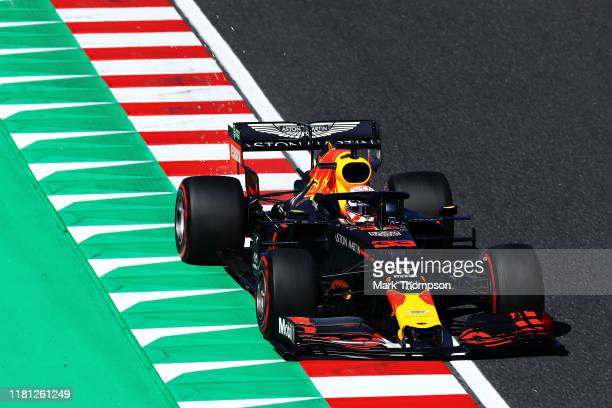 Max Verstappen of the Netherlands driving the Aston Martin Red Bull Racing RB15 on track during qualifying for the F1 Grand Prix of Japan at Suzuka...
