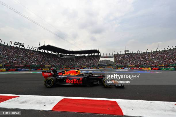 Max Verstappen of the Netherlands driving the Aston Martin Red Bull Racing RB15 on track during qualifying for the F1 Grand Prix of Mexico at...