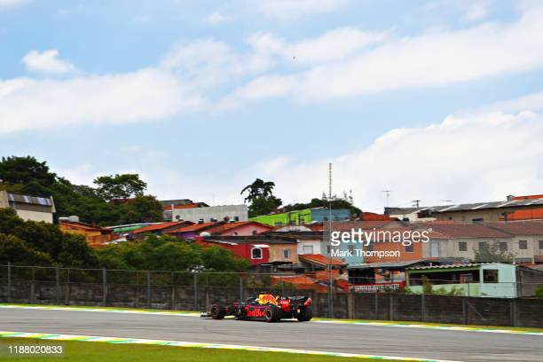 Max Verstappen of the Netherlands driving the Aston Martin Red Bull Racing RB15 on track during final practice for the F1 Grand Prix of Brazil at...