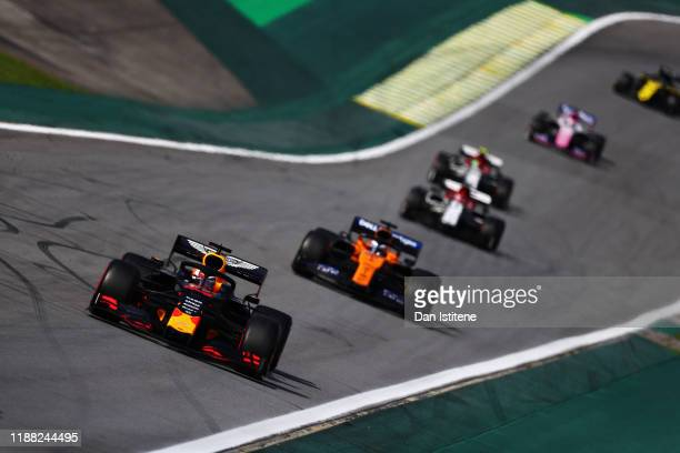 Max Verstappen of the Netherlands driving the Aston Martin Red Bull Racing RB15 on track during the F1 Grand Prix of Brazil at Autodromo Jose Carlos...