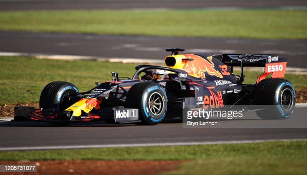 Max Verstappen of the Netherlands driving the Aston Martin Red Bull Racing RB16 during the Red Bull Racing RB16 launch at Silverstone Circuit on...