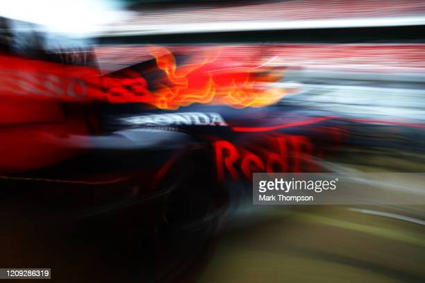 Max Verstappen of the Netherlands driving the Aston Martin Red Bull Racing RB16 leaves the garage during Day Three of F1 Winter Testing at Circuit de...