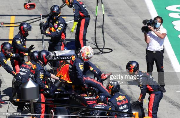 Max Verstappen of the Netherlands driving the Aston Martin Red Bull Racing RB16 retires from the race during the Formula One Grand Prix of Austria at...