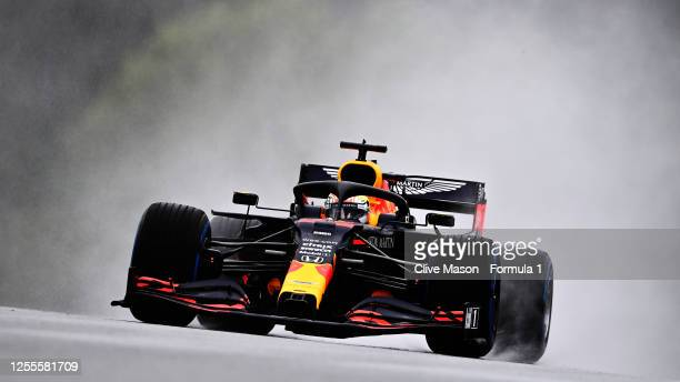 Max Verstappen of the Netherlands driving the Aston Martin Red Bull Racing RB16 on track during qualifying for the Formula One Grand Prix of Styria...