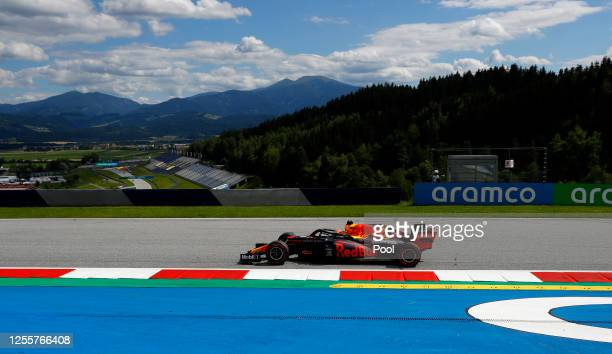 Max Verstappen of the Netherlands driving the Aston Martin Red Bull Racing RB16 on track during the Formula One Grand Prix of Styria at Red Bull Ring...