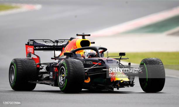Max Verstappen of the Netherlands driving the Aston Martin Red Bull Racing RB16 crashes on the way to the grid before the Formula One Grand Prix of...