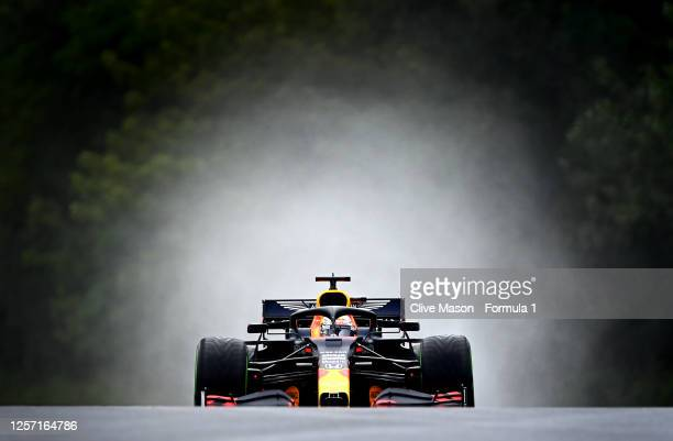 Max Verstappen of the Netherlands driving the Aston Martin Red Bull Racing RB16 on the way to the grid before the Formula One Grand Prix of Hungary...