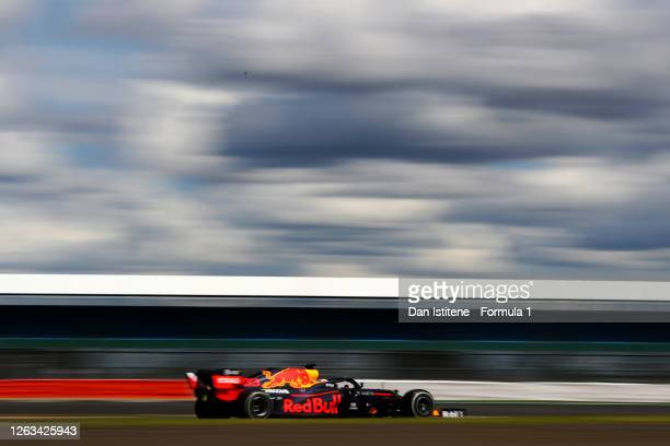 Max Verstappen of the Netherlands driving the Aston Martin Red Bull Racing RB16 during the Formula One British Grand Prix at Silverstone on August 02...