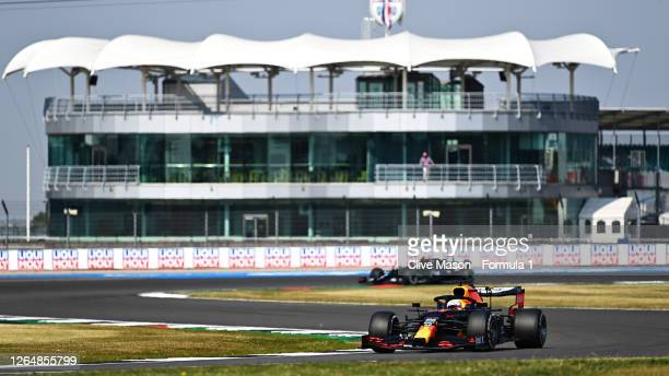 Max Verstappen of the Netherlands driving the Aston Martin Red Bull Racing RB16 during the F1 70th Anniversary Grand Prix at Silverstone on August...